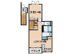 京阪本線 伏見桃山駅 徒歩27分の賃貸アパート 2階1LDKの間取り