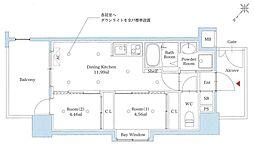 西鉄天神大牟田線 雑餉隈駅 徒歩3分の賃貸マンション 8階2DKの間取り