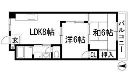 ライフイン宝塚2[3階]の間取り