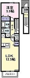 エクセレント大美野[2階]の間取り