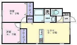 大阪府高石市東羽衣2丁目の賃貸アパートの間取り