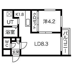 札幌市営東豊線 北13条東駅 徒歩2分の賃貸マンション 2階1LDKの間取り