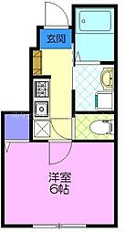 Foliar Sakura B 1階1Kの間取り