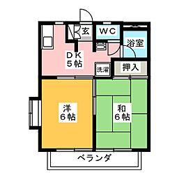 ツインKG A[2階]の間取り