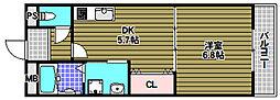 エムエムケー 3階1DKの間取り