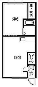 間取り,1DK,面積28m2,賃料3.2万円,JR函館本線 旭川駅 4.7km,JR石北本線 新旭川駅 徒歩30分,北海道旭川市春光一条7丁目
