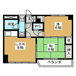 HAGINOMACHI1-2-3[2階]の間取り