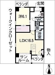 メルベーユ川宮[5階]の間取り