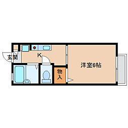 奈良県生駒市中菜畑1丁目の賃貸アパートの間取り