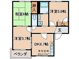 京都府城陽市平川室木の賃貸アパートの間取り