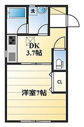 下荻野新築アパート[105号室]の間取り