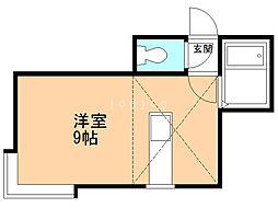 MMハイム1 2階ワンルームの間取り