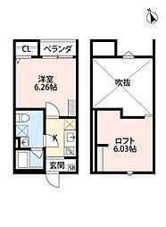 大阪府堺市北区百舌鳥本町1丁の賃貸アパートの間取り