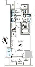 東京メトロ日比谷線 神谷町駅 徒歩8分の賃貸マンション 12階ワンルームの間取り
