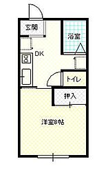 JR奥羽本線 蔵王駅 松原中下車 徒歩3分の賃貸アパート 2階1Kの間取り