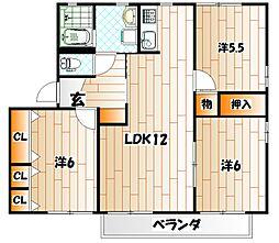 スール・パティオ紫水 B棟[2階]の間取り
