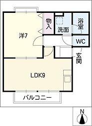 ヒューゲル岩崎台[1階]の間取り