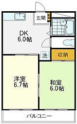 ぐるめらんビル 4階2DKの間取り
