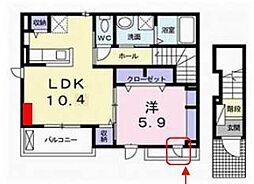 愛媛県松山市南高井町の賃貸アパートの間取り