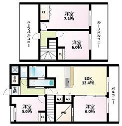 Osaka Metro御堂筋線 江坂駅 徒歩10分の賃貸マンション 4階4LDKの間取り