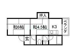 コーポ北畑[2階]の間取り
