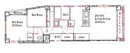 フルリノベーション2LDK 麻布十番 クロスマンション[205号室]の間取り