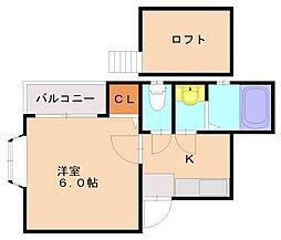 福岡県福岡市南区大楠3丁目の賃貸アパートの間取り