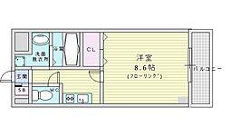 阪急千里線 山田駅 徒歩9分の賃貸マンション 2階1Kの間取り