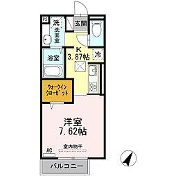 西鉄天神大牟田線 津福駅 徒歩5分の賃貸アパート 1階1Kの間取り