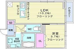 エクセランB 2階1LDKの間取り