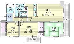 北大阪急行電鉄 緑地公園駅 徒歩7分の賃貸マンション 6階3LDKの間取り