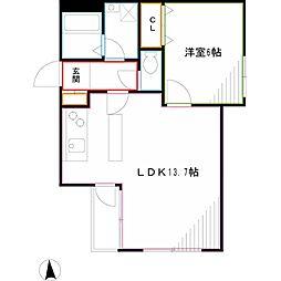 Lapis三鷹 1階1LDKの間取り