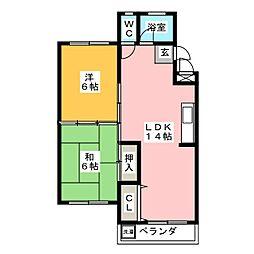 コーポ矢野[2階]の間取り