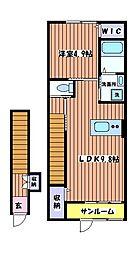 東京都日野市石田1丁目の賃貸アパートの間取り