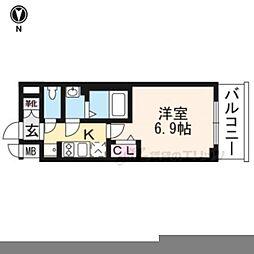 プレサンス京都二条京華 202 2階1Kの間取り