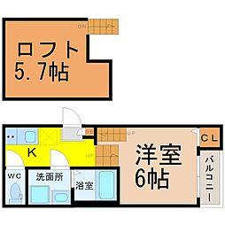 愛知県名古屋市千種区千種1丁目の賃貸アパートの間取り