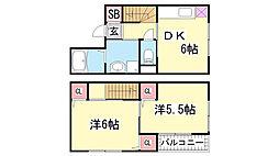 兵庫県神戸市北区谷上西町の賃貸アパートの間取り