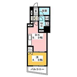 ディームス大手町ノース 12階1DKの間取り