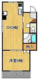 パークハイツ黒崎I 1階1LDKの間取り