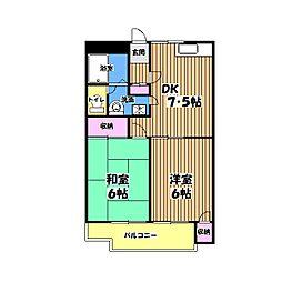 東京都立川市砂川町8丁目の賃貸マンションの間取り