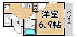 おおさか東線 新加美駅 徒歩5分の賃貸マンション 1階1Kの間取り