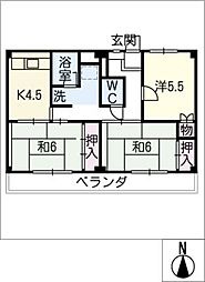 ビレッジハウス横根 1号棟[1階]の間取り