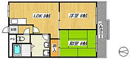 大阪府堺市西区浜寺諏訪森町西3丁の賃貸マンションの間取り