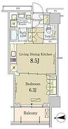 JR山手線 五反田駅 徒歩5分の賃貸マンション 7階1LDKの間取り