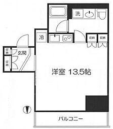 品川タワーフェイス 10階ワンルームの間取り