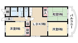 愛知県名古屋市緑区桶狭間神明の賃貸マンションの間取り