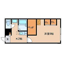 近鉄京都線 大和西大寺駅 バス14分 平城中山北口下車 徒歩3分の賃貸アパート 1階1Kの間取り