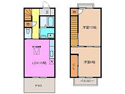 三重県津市中河原の賃貸アパートの間取り