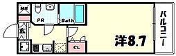 JR東海道・山陽本線 三ノ宮駅 徒歩7分の賃貸マンション 2階1Kの間取り