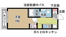 エステムプラザ神戸三宮ルクシア[812号室]の間取り